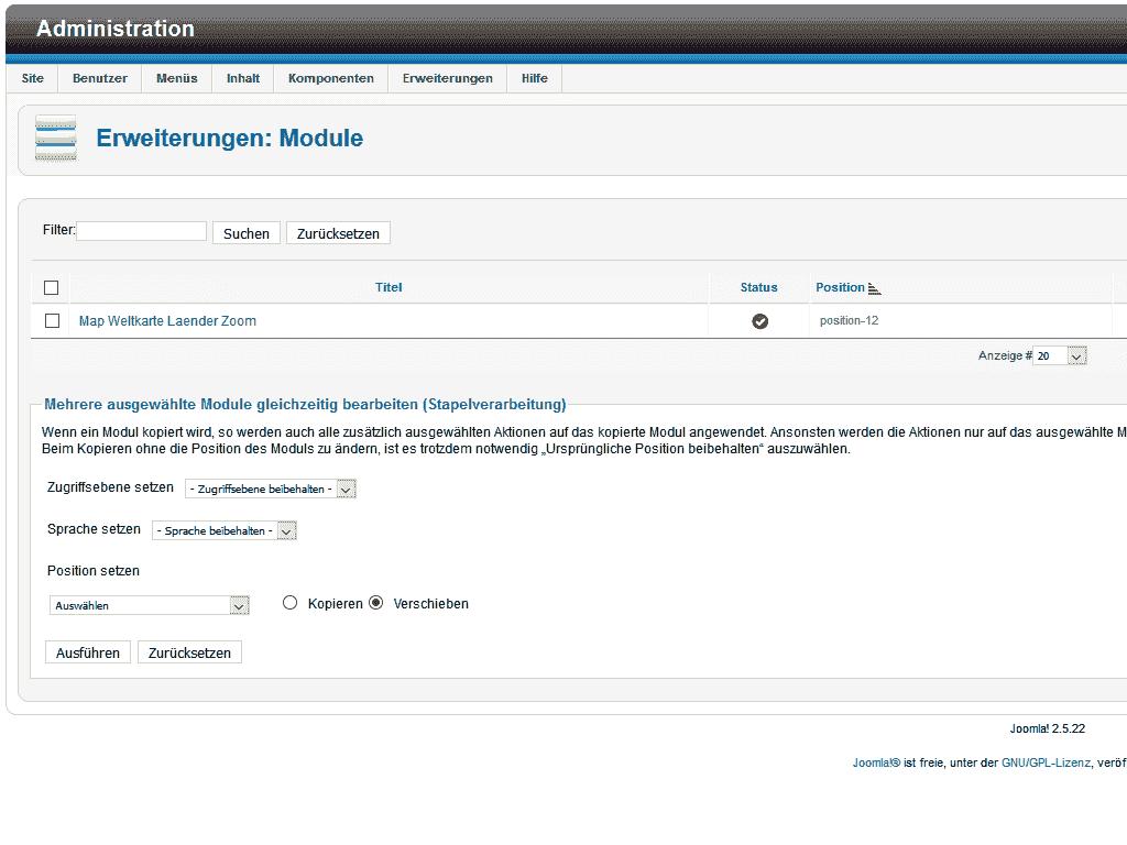 Übersicht der installierten Map Module für Joomla 2.5