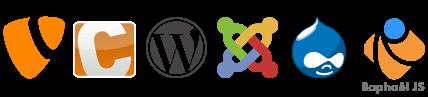 Joomla 2.5/3, Worpdress, Contao, Typo3, Drupal, Raphaël JS Plugin