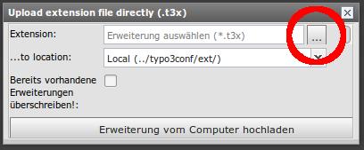 Lokal gespeicherte .t3x-Datei von ihrem Computer auswaehlen