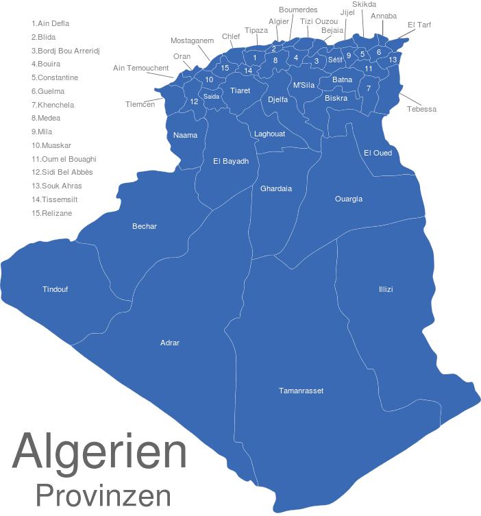 Algerien Provinzen interaktive Landkarte   Image-maps.de