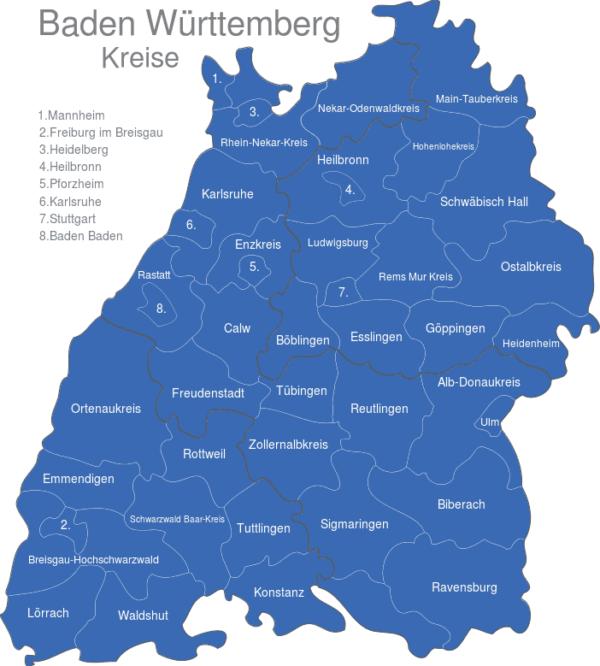 Karte Landkreise Baden Württemberg