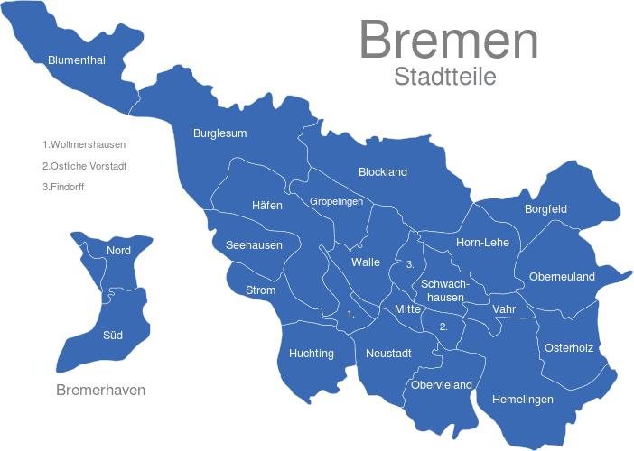 Bremen Stadtteile interaktive Landkarte | Image-maps.de