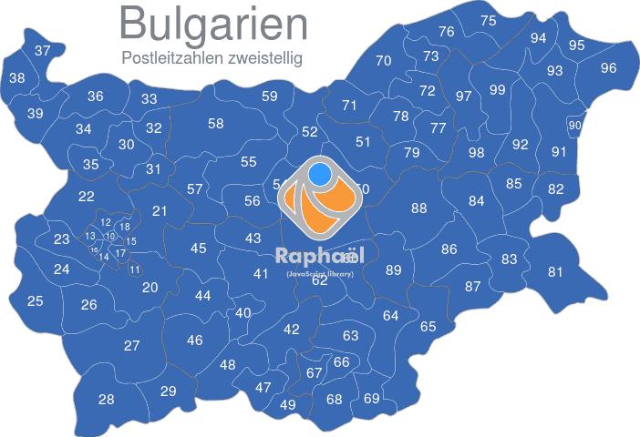 Karte Bulgarien.Bulgarien Postleitzahlen Zweistellig