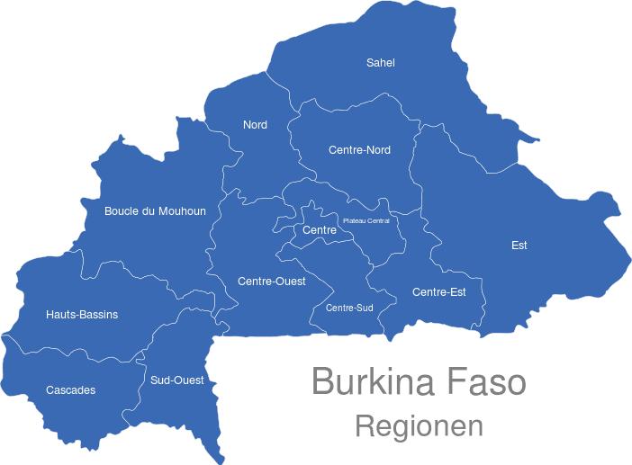 Burkina Faso Regionen interaktive Landkarte | Image-maps.de