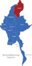 Map Burma Myanmar Regionen Kachin