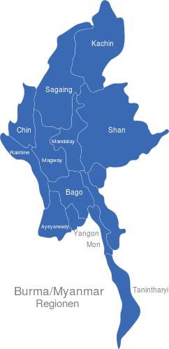 Burma Myanmar Regionen