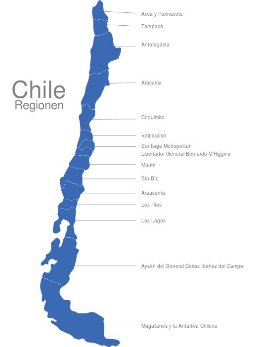 landkarte chile Chile Regionen interaktive Landkarte | Image maps.de landkarte chile