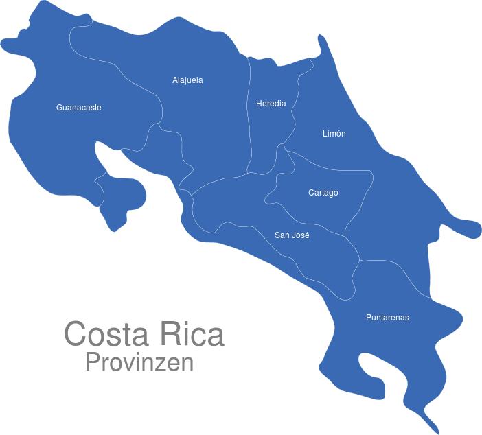 Costa Rica Provinzen interaktive Landkarte   Image-maps.de