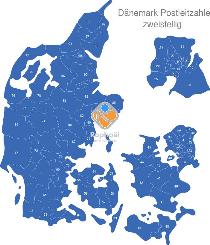 dänemark plz karte Dänemark Postleitzahlen interaktive Landkarte   Image maps.de