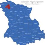 Map Düsseldorf Regierungsbezirk Bedburg-Hau
