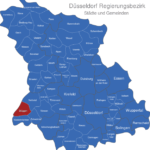 Map Düsseldorf Regierungsbezirk Brüggen