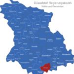 Map Düsseldorf Regierungsbezirk Dormagen