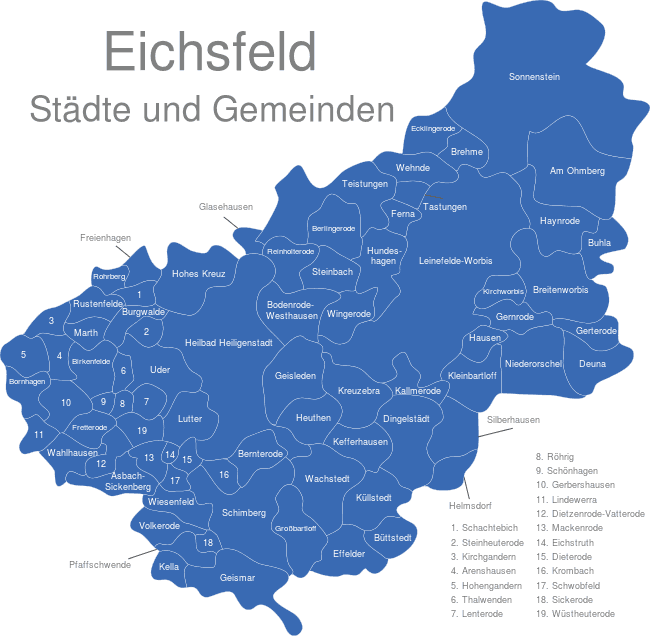 eichsfeld karte Eichsfeld interaktive Landkarte | Image maps.de