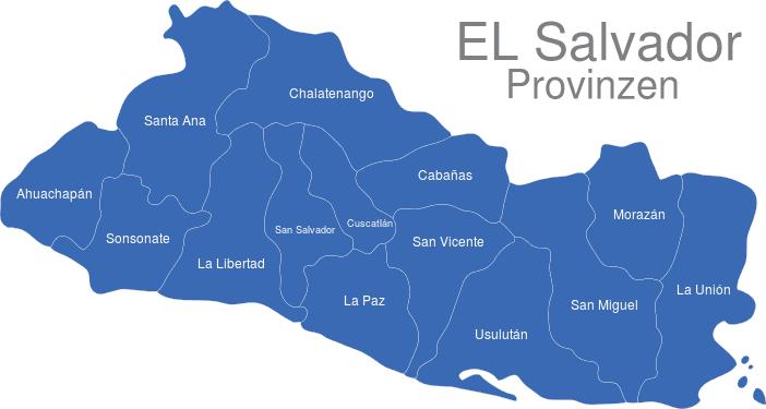 El Salvador Provinzen interaktive Landkarte | Image-maps.de