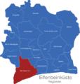 Map Elfenbeinkueste Regionen Bas-Sassandra