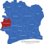 Map Elfenbeinkueste Regionen Dix-Huit_Montagnes