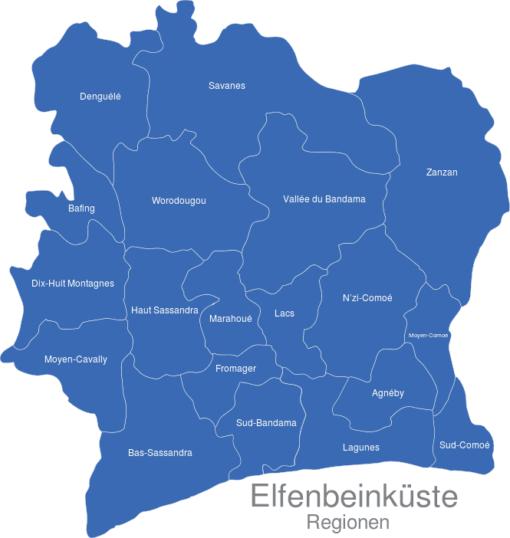 Elfenbeinkueste Regionen