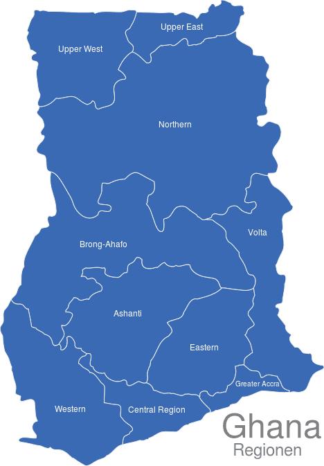 Ghana Regionen