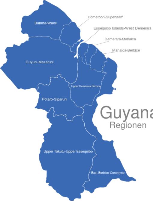 Guyana Regionen interaktive Landkarte | Image-maps.de