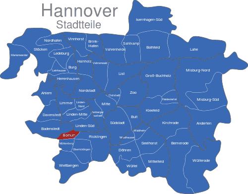 landkarte hannover Hannover Stadtteile interaktive Landkarte | Image maps.de landkarte hannover