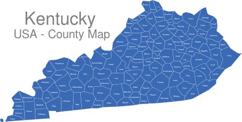 Kentucky Counties interaktive Landkarte | Image-maps.de