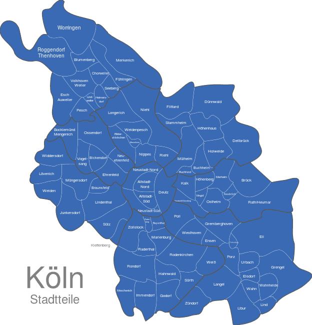 köln stadtteile karte Köln Stadtteile interaktive Landkarte | Image maps.de