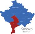 Map Kososvo Bezirke Prizren