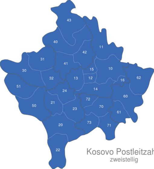 Kosovo Postleitzahlen Zweistellig