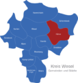 Map Kreis Wesel Hünxe