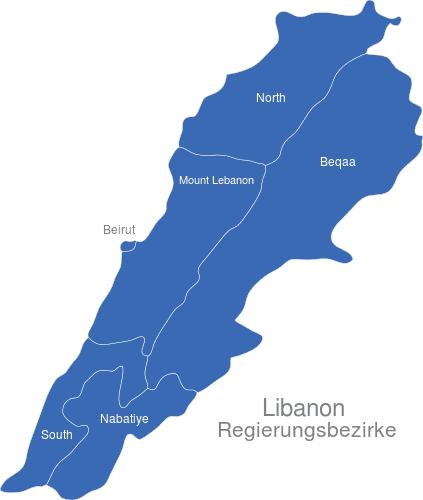 Libanon Regierungsbezirke