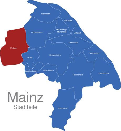 mainz karte Mainz Stadtteile interaktive Landkarte   Image maps.de