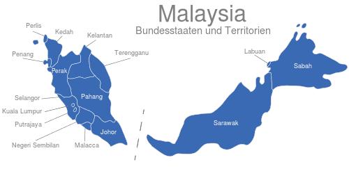Malaysia Bundesstaaten Und Territorien