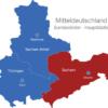 Map Mitteldeutschland Bundesländer Hauptstädte Sachsen