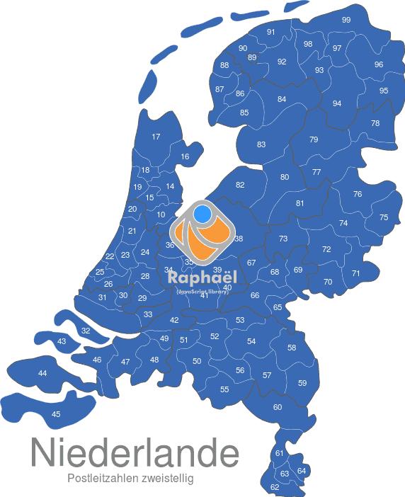 Karte Plz.Niederlande Postleitzahlen Zweistellig