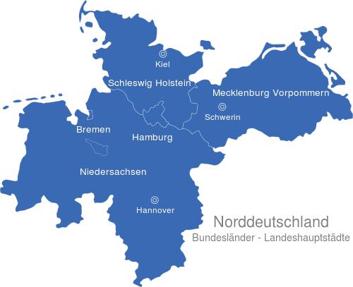 norddeutschland karte Norddeutschland Bundesländer Hauptstädte interaktive Landkarte