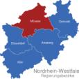 Map Nordrhein Westfalen Regierungsbezirke Munster