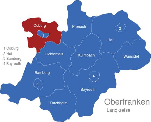 landkarte oberfranken Oberfranken Landkreise interaktive Landkarte | Image maps.de landkarte oberfranken