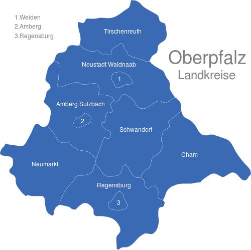 oberpfalz karte Oberpfalz Landkreise interaktive Landkarte | Image maps.de