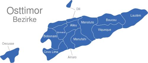 Osttimor Timor Leste Bezirke