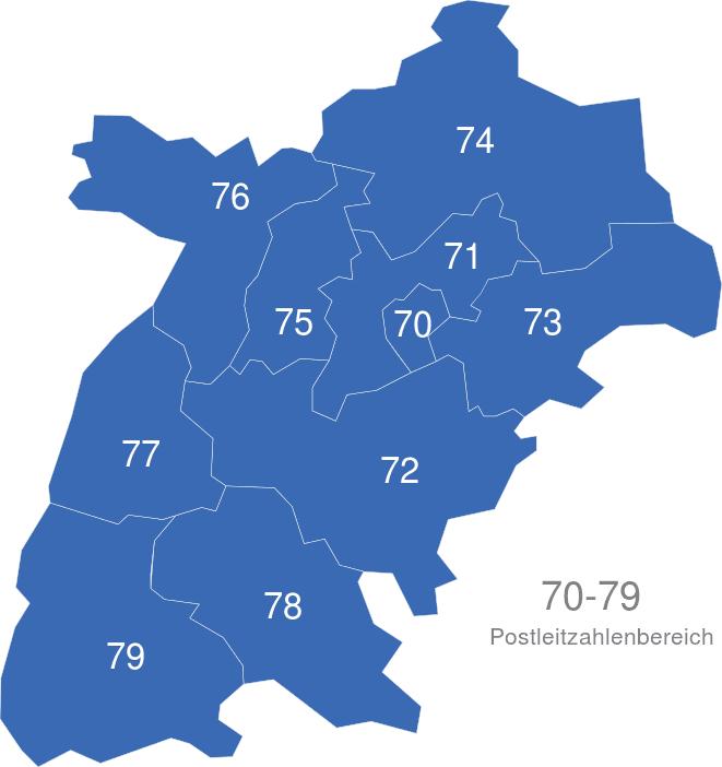 PLZ Gebiete 70 79 interaktive Landkarte | Image-maps.de
