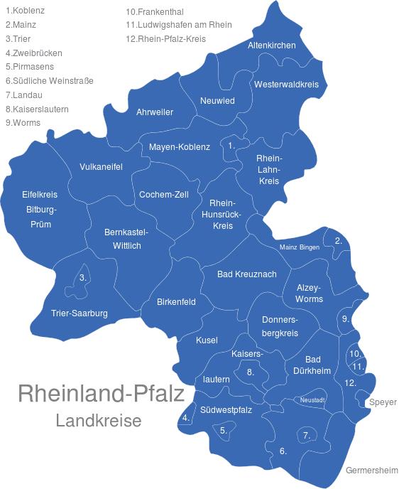 Landkreise Rheinland-Pfalz Karte