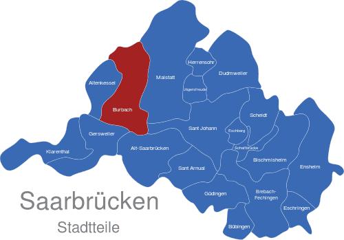 saarbrücken karte Saarbrücken Stadtteile interaktive Landkarte   Image maps.de
