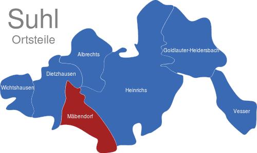 Suhl Mäbendorf suhl ortsteile interaktive landkarte image maps de