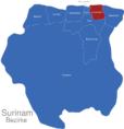 Map Surinam Bezirke Commewijne