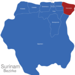 Map Surinam Bezirke Marowijne