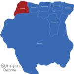 Map Surinam Bezirke Nickerie