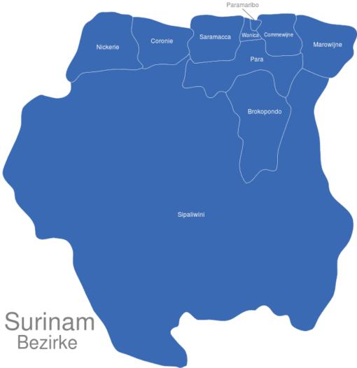 Surinam Bezirke