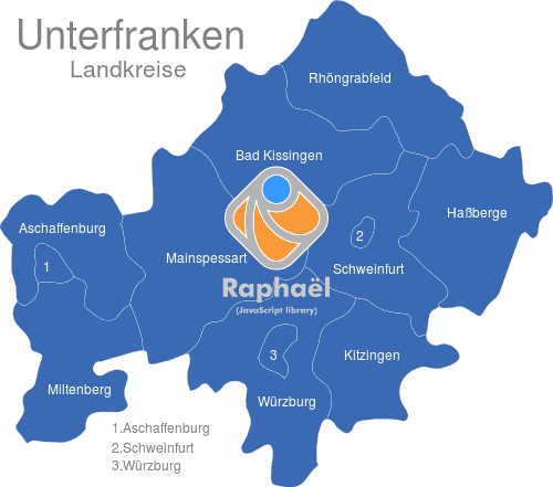 Unterfranken Karte.Unterfranken Landkreise