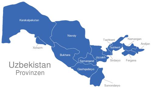 Uzbekistan Provinzen