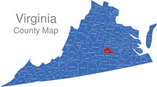 Virginia Counties Map interaktive Landkarte | Image-maps.de